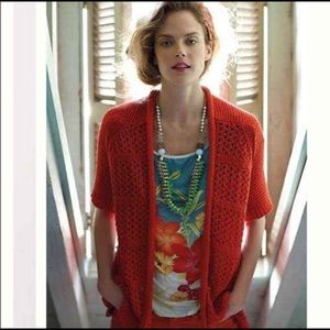 Guinevere Short Sleeve Open Front Knit Cardigan XS